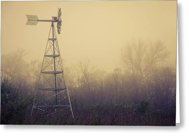 Windmill In The Foggy Dawn Greeting Card