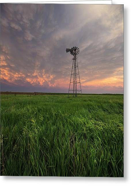 Greeting Card featuring the photograph Windmill Mammatus by Aaron J Groen