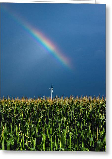 Windmill Rainbow Greeting Card by Cale Best