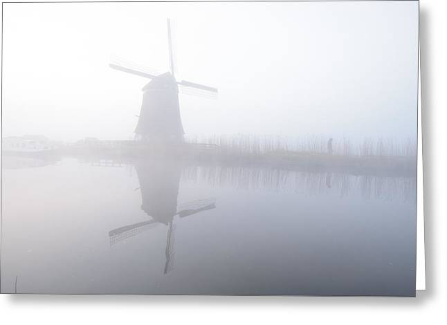 Greeting Card featuring the photograph Windmill Reflection by Phyllis Peterson