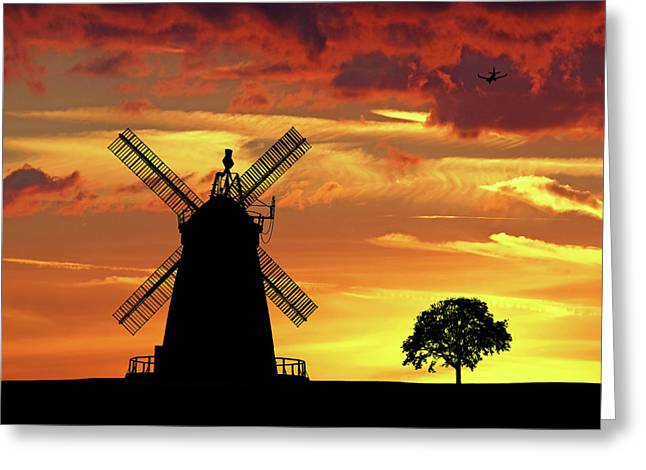 Windmill Silhouette At Sunset Greeting Card by Gill Billington