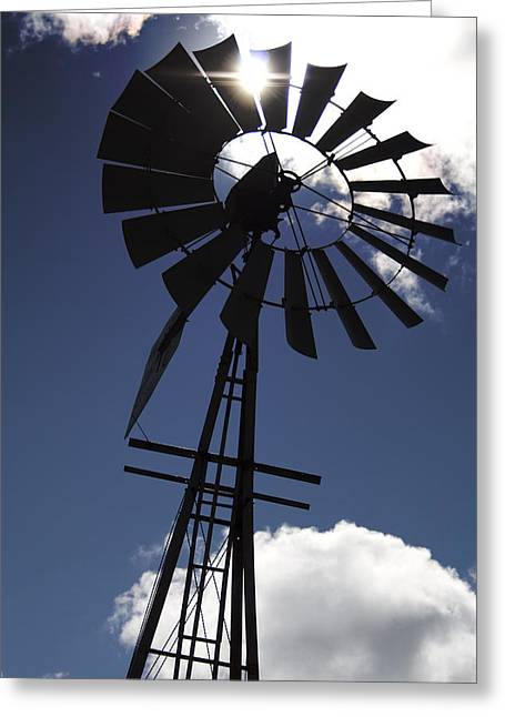 Windmill Silhouette  Greeting Card by Kandie  Kingery