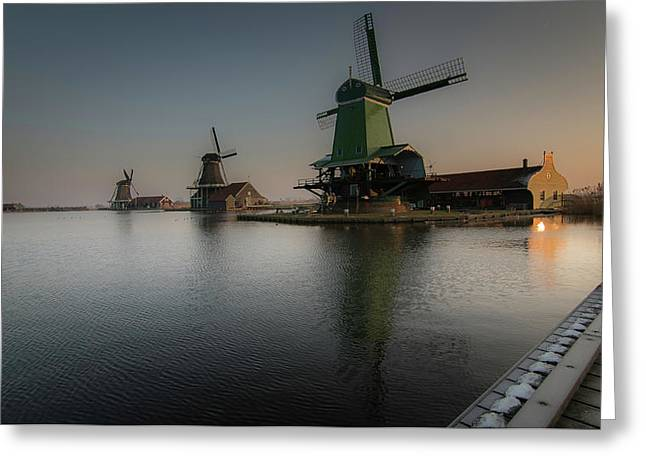 Windmill Sunrise Greeting Card