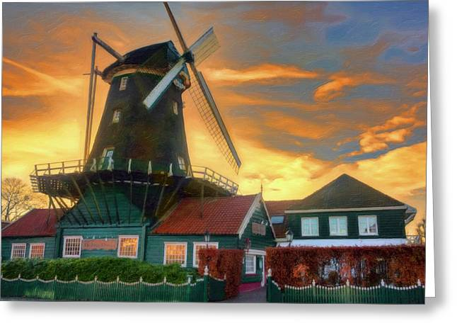 Windmill Sunset Greeting Card by Nadia Sanowar