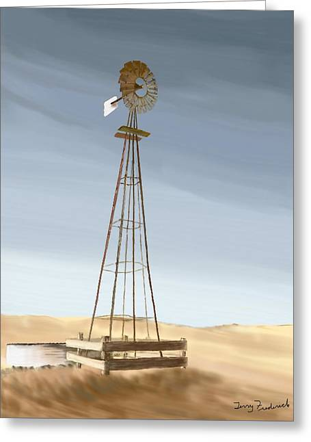 Greeting Card featuring the painting Windmill by Terry Frederick
