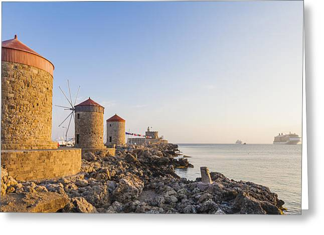 Windmills At Mandraki Harbour Greeting Card by Werner Dieterich