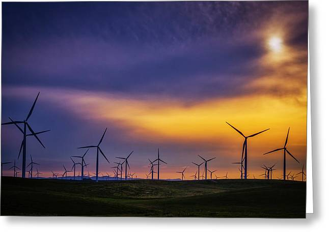 Greeting Card featuring the photograph Windmills At Sunset by Randy Bayne