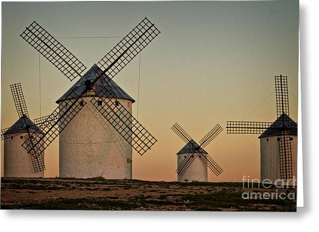Greeting Card featuring the photograph Windmills In Golden Light by Heiko Koehrer-Wagner