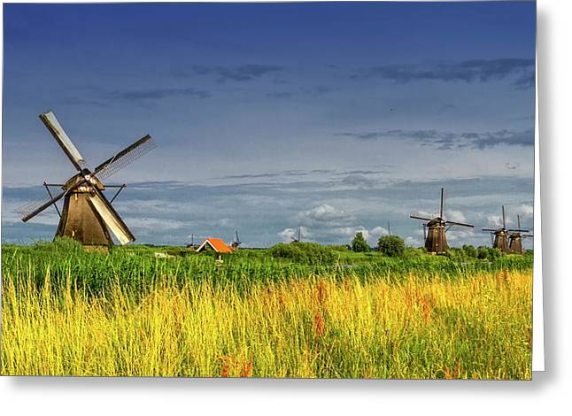 Windmills In Kinderdijk, Holland, Netherlands Greeting Card