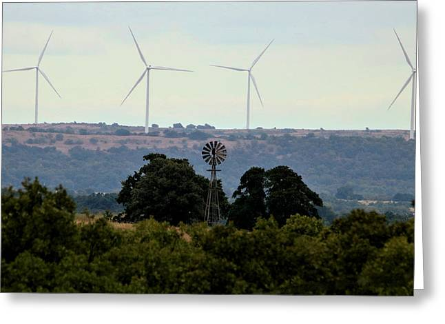 Greeting Card featuring the photograph Windmills Old And New by Sheila Brown