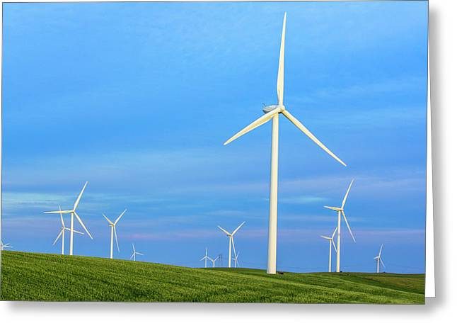 Greeting Card featuring the photograph Windmills On Blue by Randy Bayne