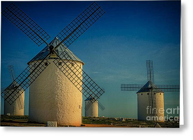 Greeting Card featuring the photograph Windmills Under Blue Sky by Heiko Koehrer-Wagner