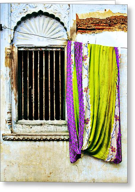 Window And Sari Greeting Card by Derek Selander