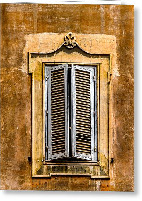 Window And Shutters Rome Italy Greeting Card by Xavier Cardell