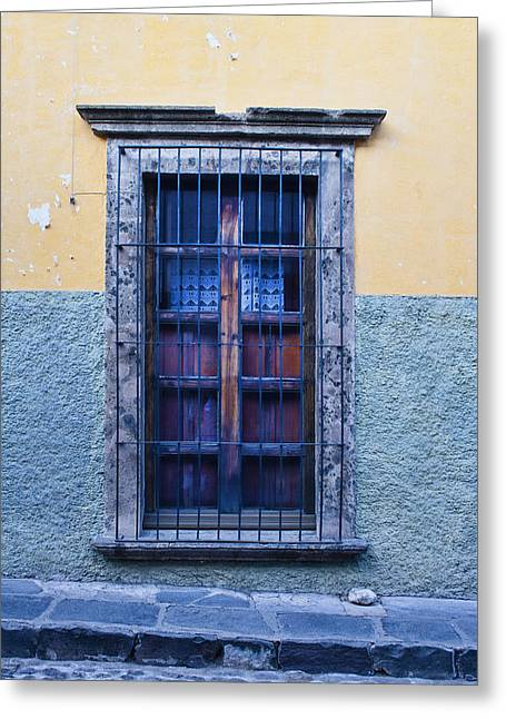 Window And Textured Wall Greeting Card by Carol Leigh