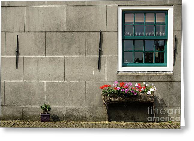 Window And Wood Planter In Edam Greeting Card