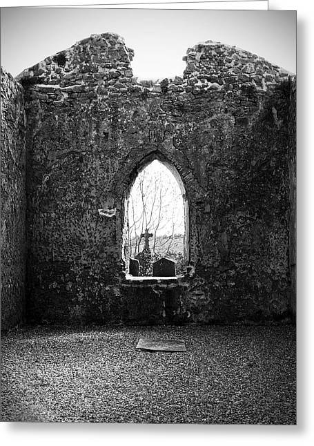 Ireland Photographs Greeting Cards - Window at Fuerty Church Roscommon Ireland Greeting Card by Teresa Mucha
