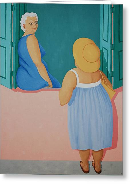 Window Chat With Blue Dresses Greeting Card by Diana Kordas