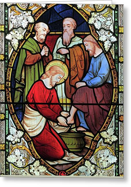 Window Depicting Jesus Washing The Feet Of His Disciples Greeting Card