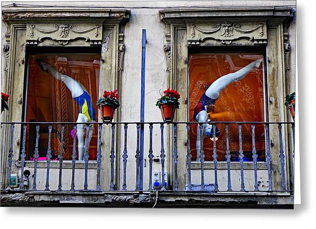Window Dressing 2 In Florence Italy Greeting Card