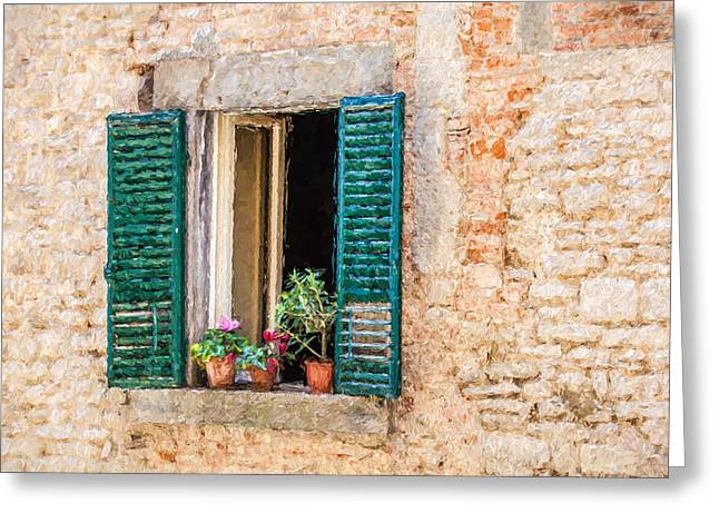 Window Flowers Of Tuscany Greeting Card by David Letts