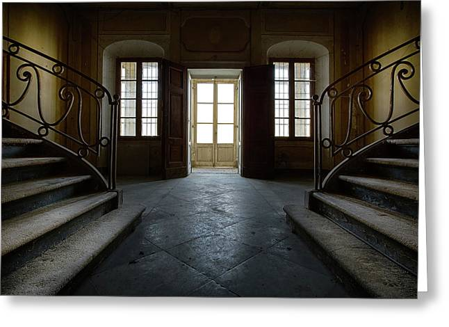 Greeting Card featuring the photograph Window Light On Dark Stairs by Dirk Ercken