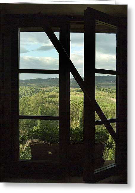 Window Looking Out Across Vineyards Greeting Card