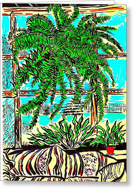 Greeting Card featuring the drawing Window Loving Fern by Al Goldfarb