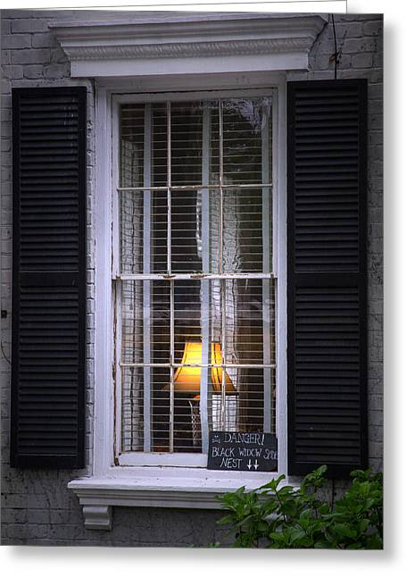 Window Of The Black Widow Greeting Card by Mark Andrew Thomas