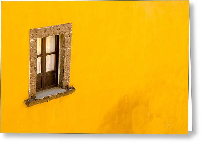 Greeting Card featuring the photograph Window On A Yellow Wall. by Rob Huntley
