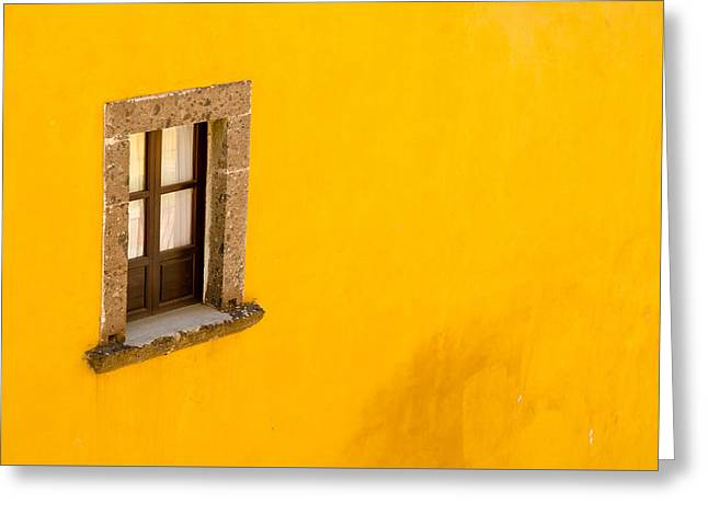 Window On A Yellow Wall. Greeting Card