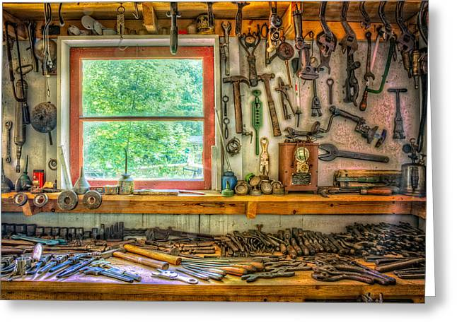 Window Over The Workbench Greeting Card by Debra and Dave Vanderlaan