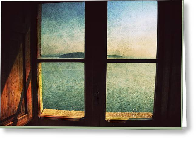Window Overlooking The Sea Greeting Card