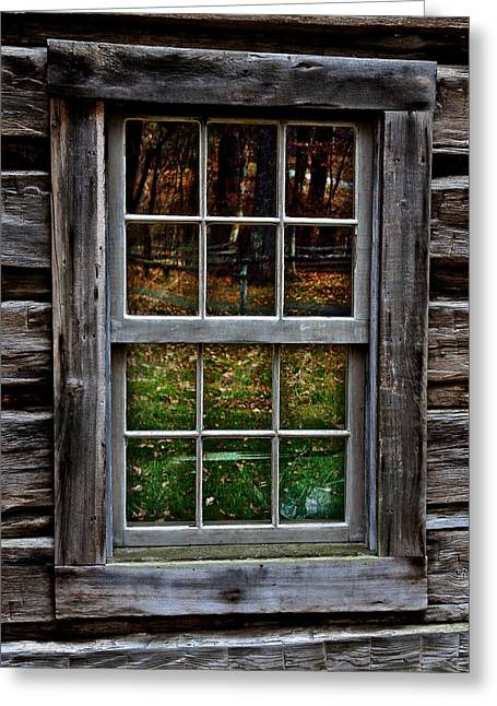 Window Reflection At Mabry Mill Greeting Card