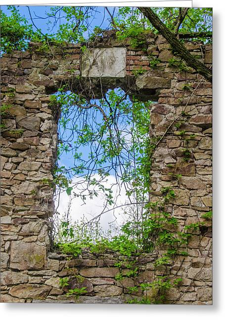 Greeting Card featuring the photograph Window Ruin At Bridgetown Millhouse Bucks County Pa by Bill Cannon
