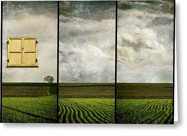 Window To Farmland Triptych Greeting Card