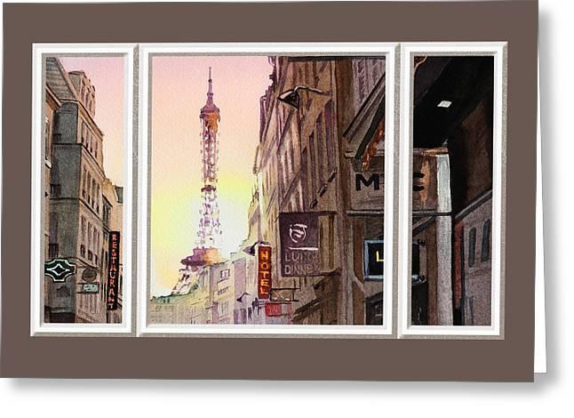 Window To Paris Greeting Card by Irina Sztukowski