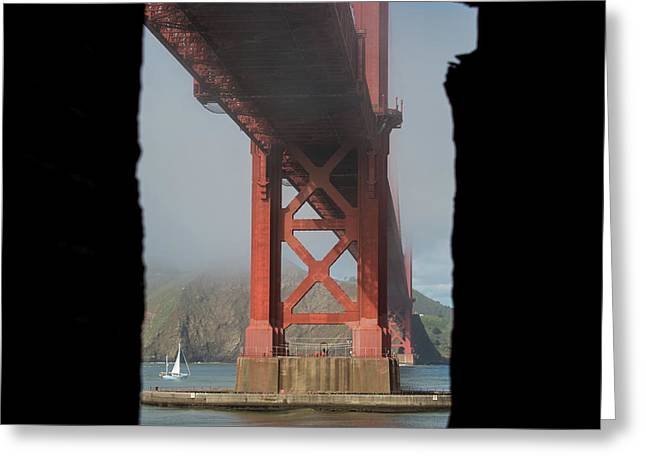 Greeting Card featuring the photograph window to the Golden Gate Bridge by Stephen Holst