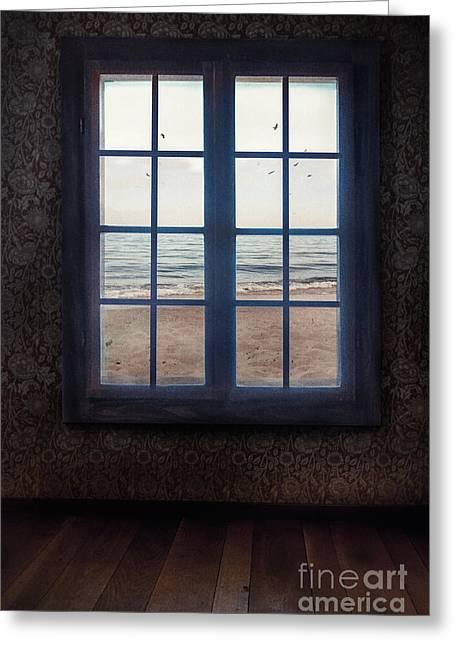 Window With Sea View Greeting Card by Mythja Photography