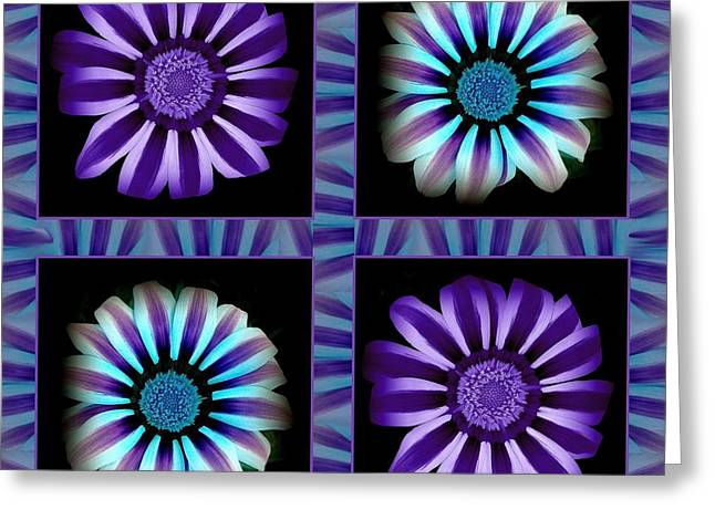 Windowpanes Brimming With  Moonburst Stripes Of Flowers - Scene 1 Greeting Card by Jacqueline Migell
