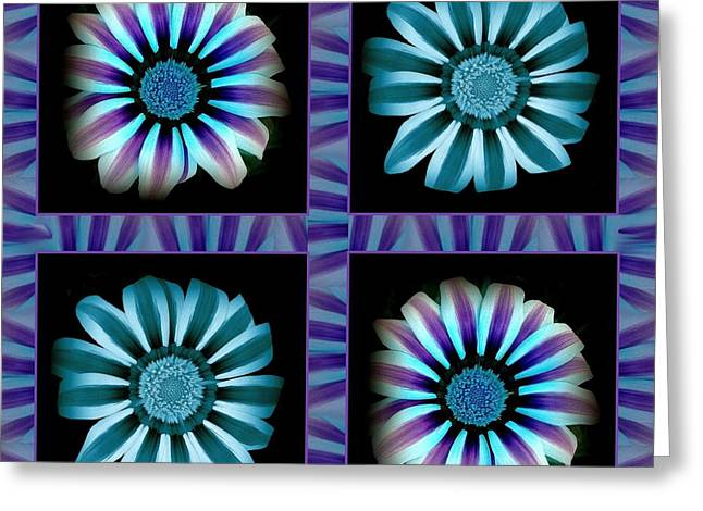 Windowpanes Brimming With  Moonburst Stripes Of Flowers - Scene 2 Greeting Card by Jacqueline Migell