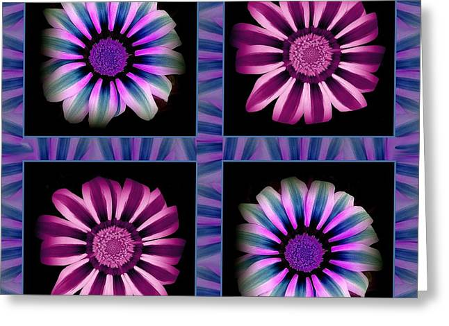 Windowpanes Brimming With  Moonburst Stripes Of Flowers - Scene 5 Greeting Card by Jacqueline Migell