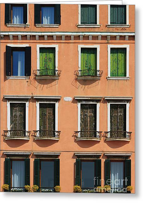 Windows In Venice Greeting Card