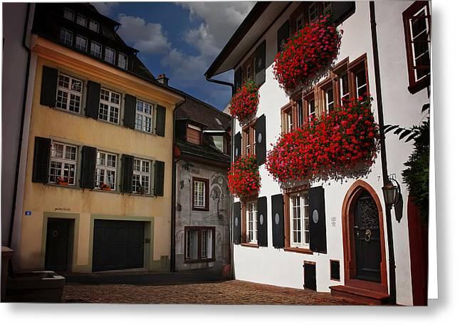 Windows Of Basel Switzerland  Greeting Card