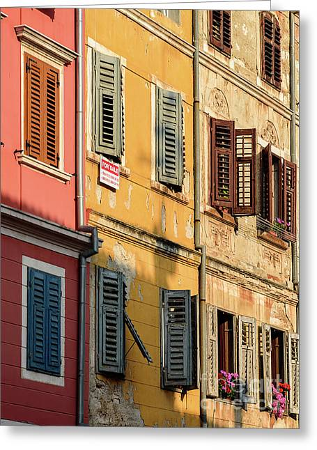 Windows Of Rovinj, Istria, Croatia Greeting Card