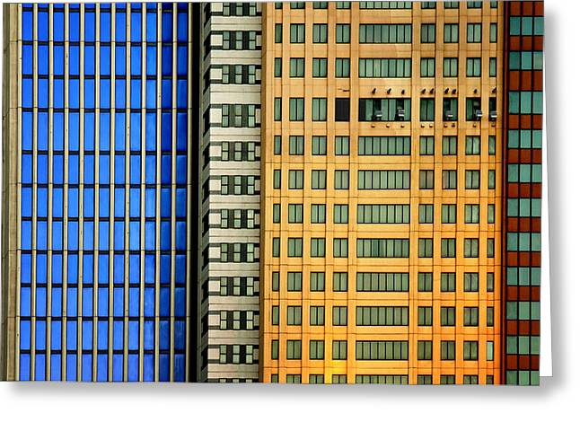 Windows On The City Greeting Card by Mathilde Guillemot