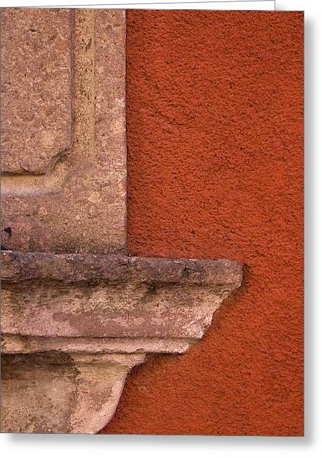 Windowsill And Orange Wall San Miguel De Allende Greeting Card