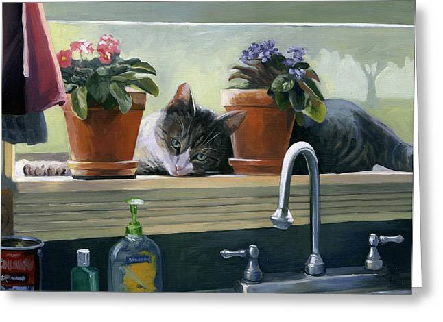 Windowsill Cat Greeting Card by Alecia Underhill