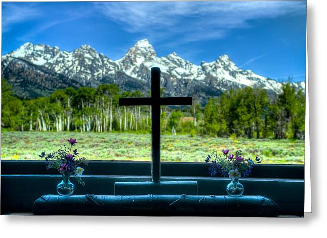 Windowsill Cross At The Chapel Of The Transfiguration Greeting Card by Charles Ford