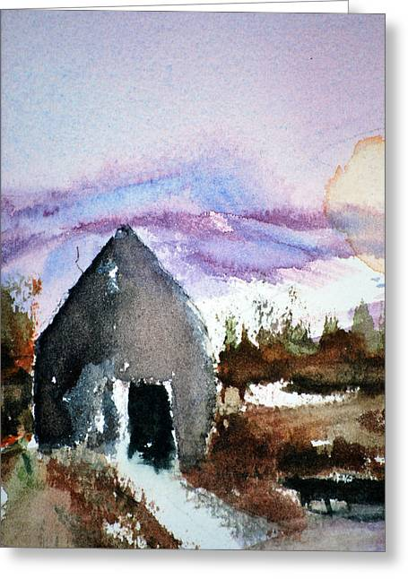 Mountain Cabin Mixed Media Greeting Cards - Windsong Cabin Greeting Card by Neva Rossi